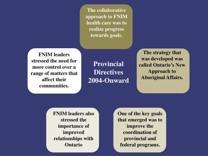 The collaborative approach to FNIM health care was to realize progress towards goals.