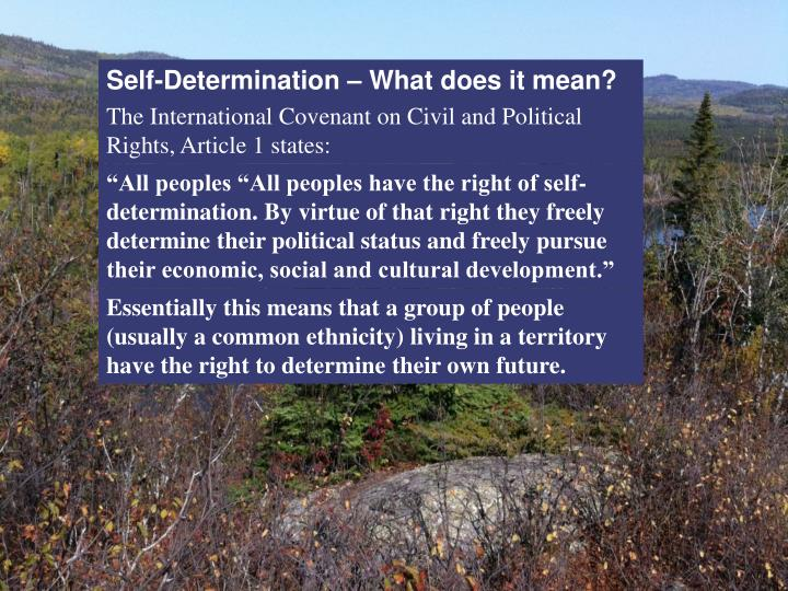 Self-Determination – What does it mean?