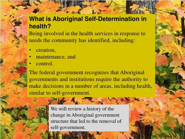 What is Aboriginal Self-Determination in health?