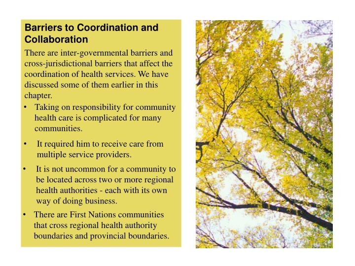 Barriers to Coordination and Collaboration