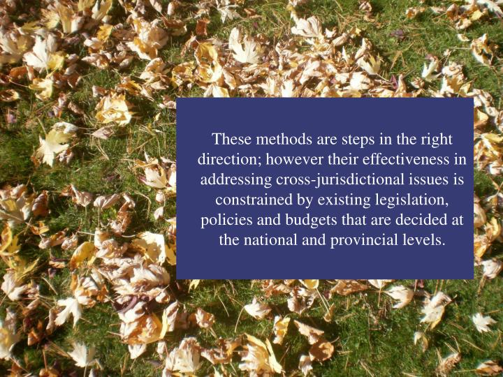 These methods are steps in the right direction; however their effectiveness in addressing cross-jurisdictional issues is constrained by existing legislation, policies and budgets that are decided at the national and provincial levels.