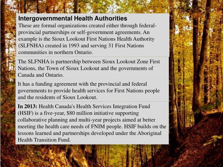 Intergovernmental Health Authorities