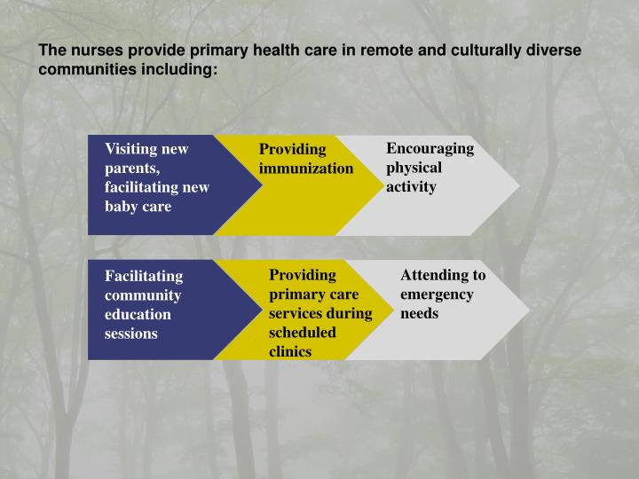 The nurses provide primary health care in remote and culturally diverse communities including:
