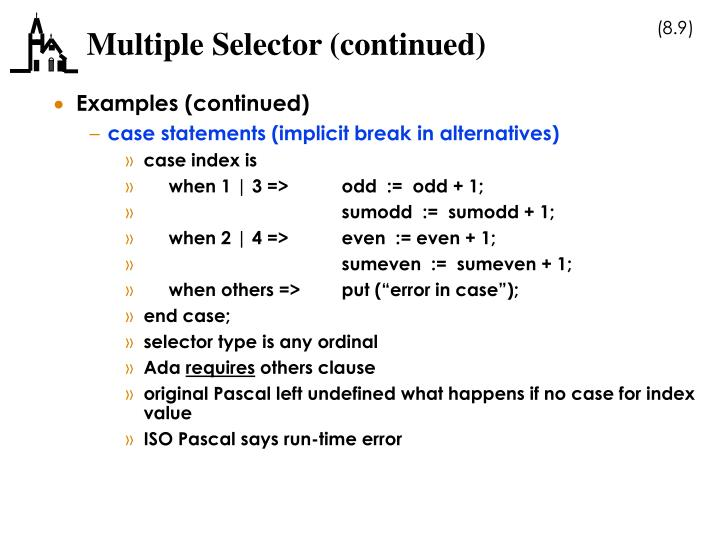 Multiple Selector (continued)