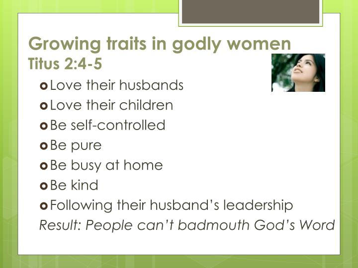 Growing traits in godly women