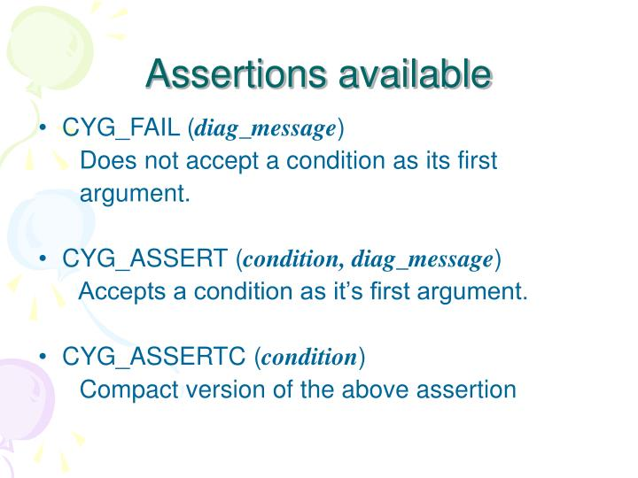 Assertions available
