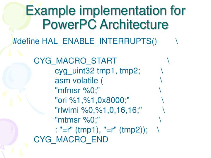 Example implementation for  PowerPC Architecture