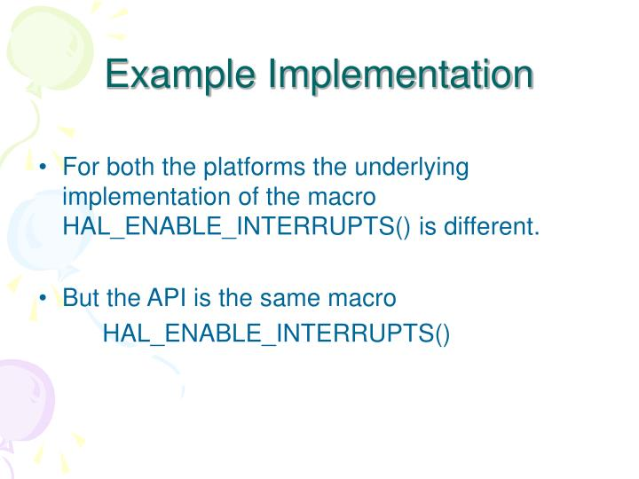 Example Implementation