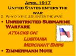 april 1917 united states enters the war