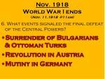 nov 1918 world war i ends nov 11 1918 @11am