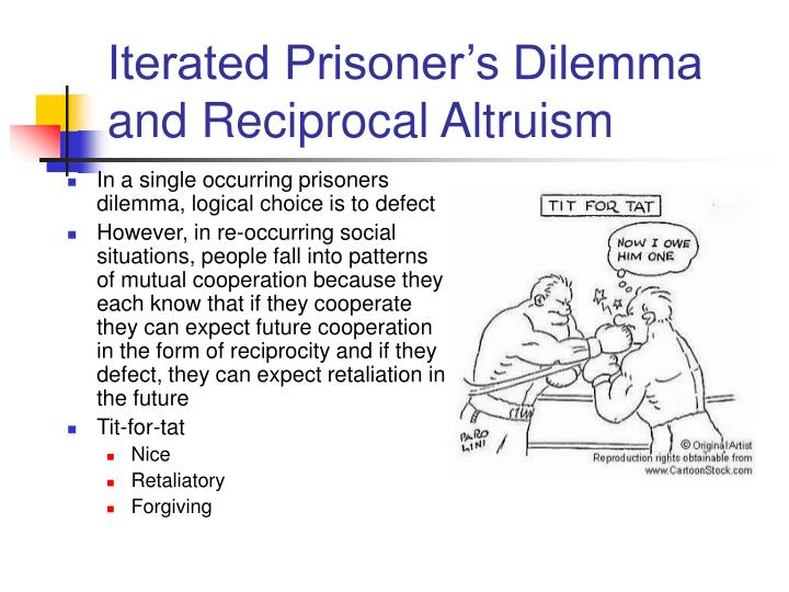 reward punishment prisoners dilemma essay Repeated prisoner's dilemma consider a prisoner's dilemma game played many  times a strategy specifies what you do in each stage game ex: cooperate in.