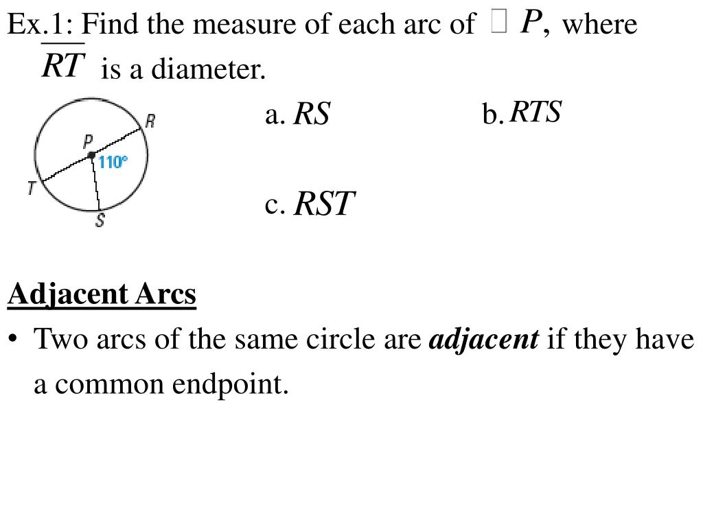 PPT - Chapter 10.2 Notes: Find Arc Measures PowerPoint ...