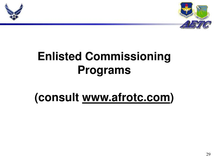 Enlisted Commissioning Programs