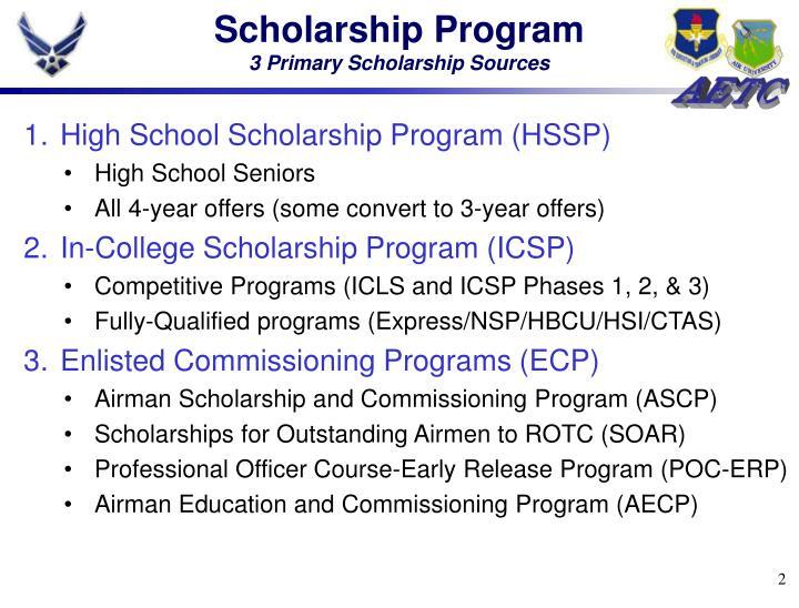 Scholarship program 3 primary scholarship sources