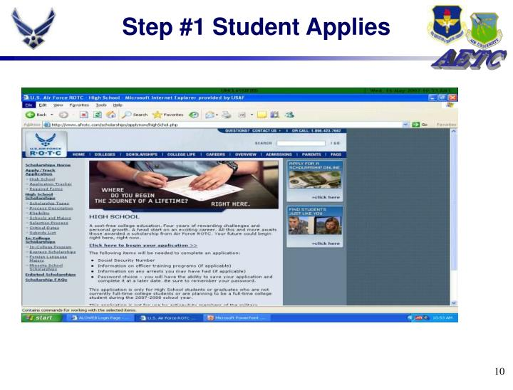 Step #1 Student Applies