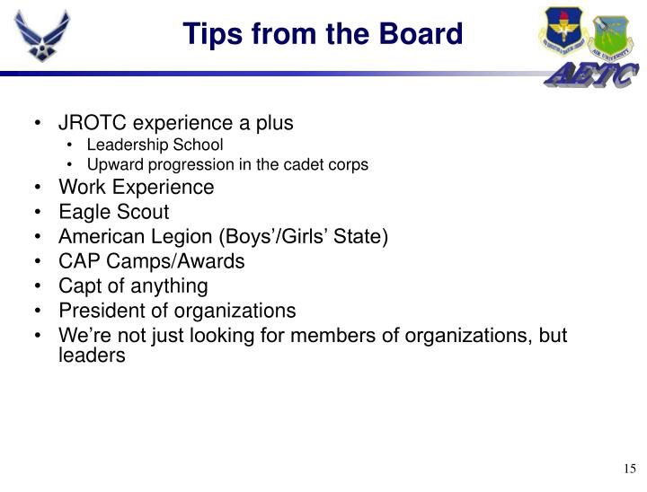 Tips from the Board