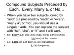 compound subjects preceded by each every many a or no