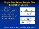 single population sample size estimation example