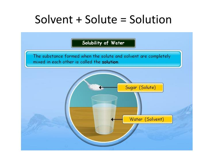 Solvent + Solute = Solution