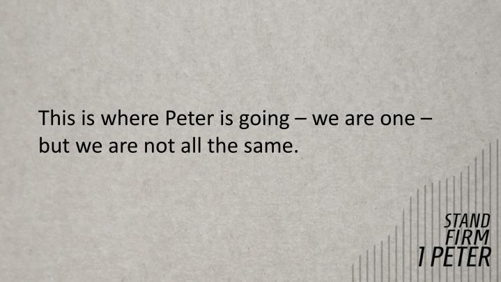 This is where Peter is going – we are one – but we are not all the same.
