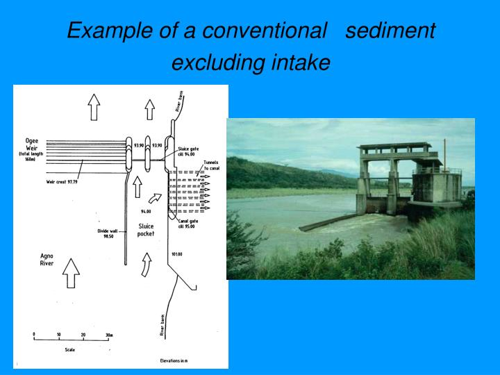 Example of a conventional   sediment excluding intake