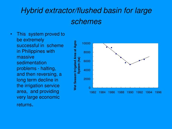 Hybrid extractor/flushed basin for large schemes