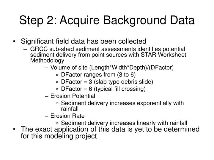 Step 2: Acquire Background Data