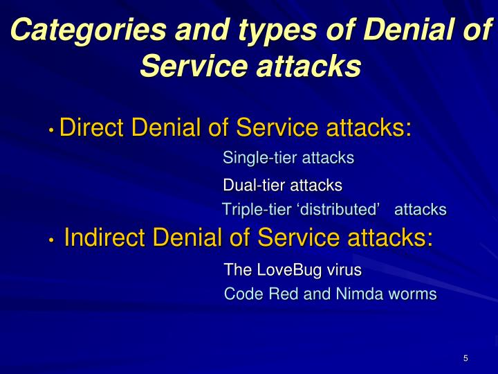 Categories and types of Denial of Service attacks