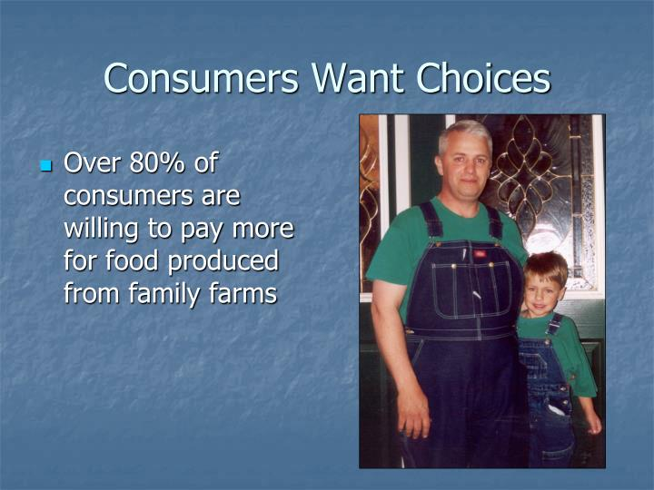 Over 80% of consumers are willing to pay more for food produced from family farms