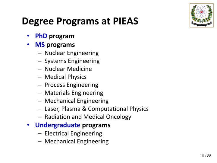 Degree Programs at PIEAS