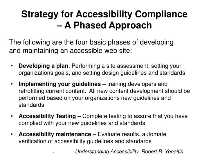 Strategy for Accessibility Compliance