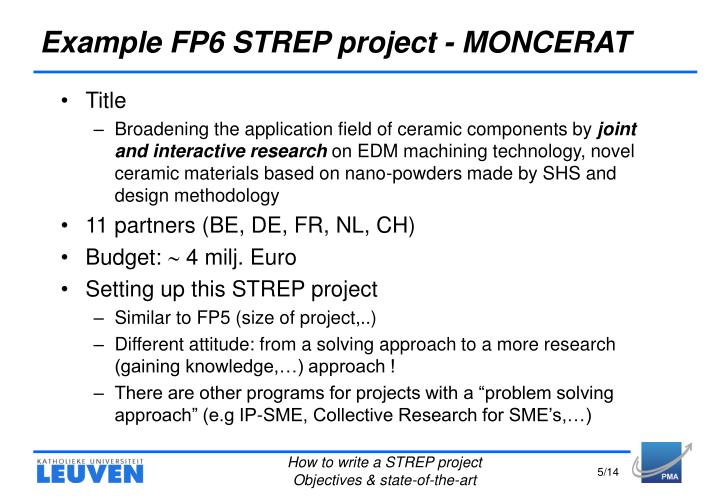 Example FP6 STREP project - MONCERAT