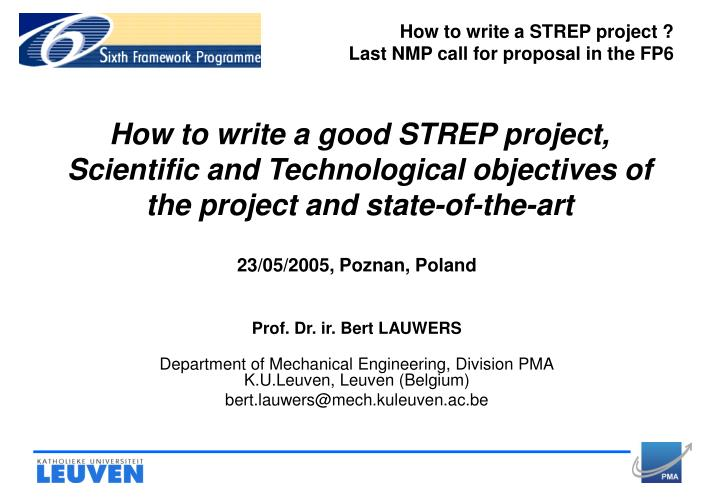 How to write a STREP project ?