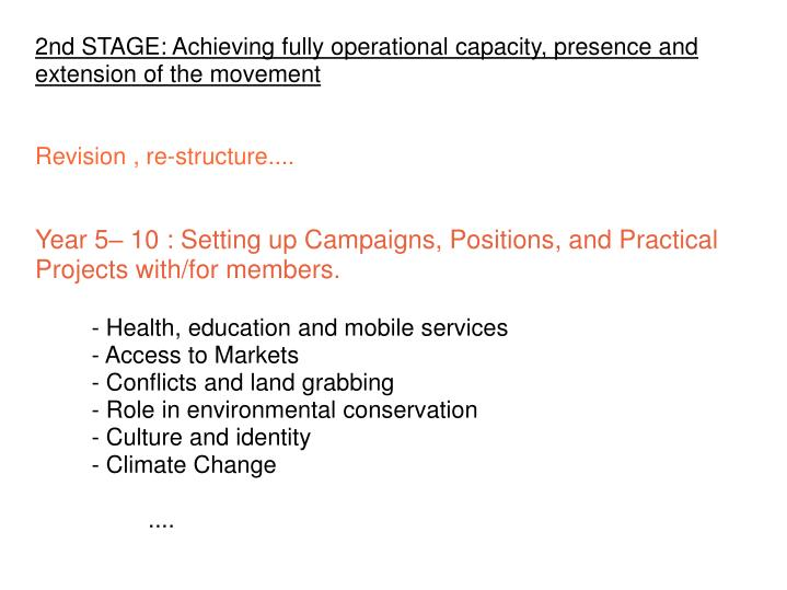 2nd STAGE: Achieving fully operational capacity, presence and extension of the movement