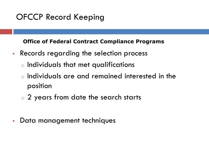 OFCCP Record Keeping
