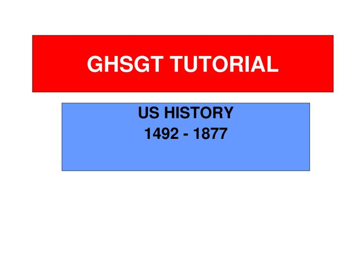 ghsgt tutorial n.
