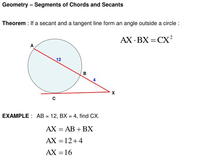 PPT - Geometry – Segments of Chords and Secants PowerPoint ...