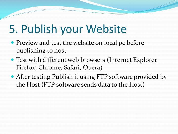 5. Publish your Website