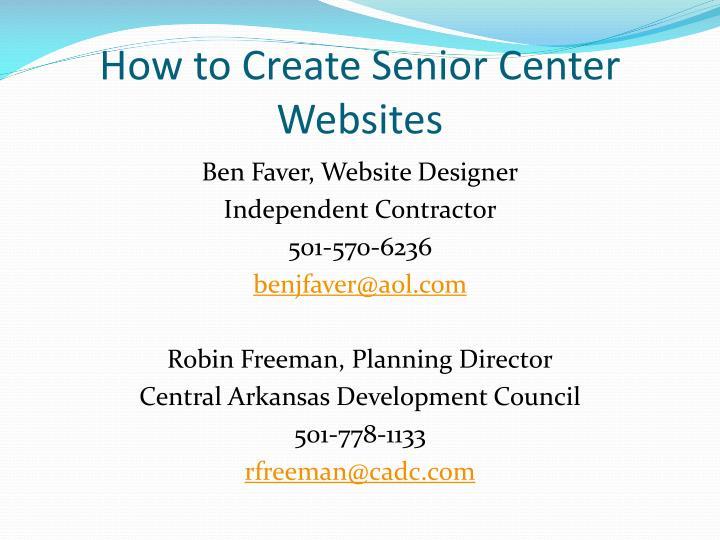 How to Create Senior Center Websites