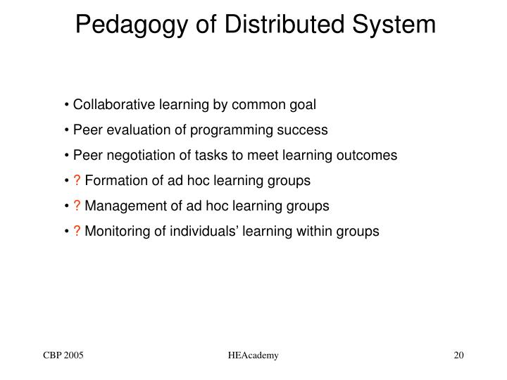 Pedagogy of Distributed System