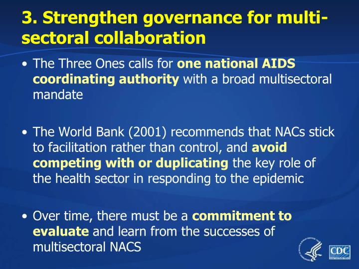 3. Strengthen governance for multi-sectoral collaboration