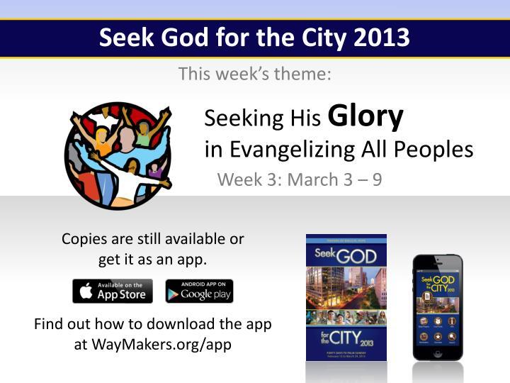 Seek God for the City 2013