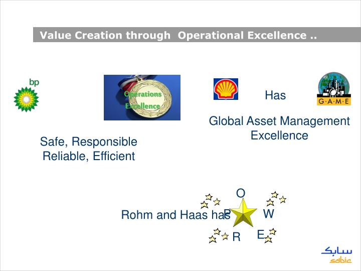 Value Creation through  Operational Excellence ..