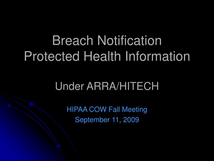 breach notification protected health information under arra hitech n.