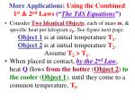 more applications using the combined 1 st 2 nd laws the tds equations