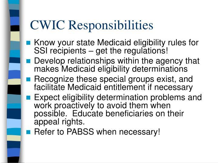 CWIC Responsibilities