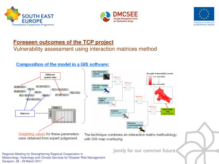 Foreseen outcomes of the TCP project