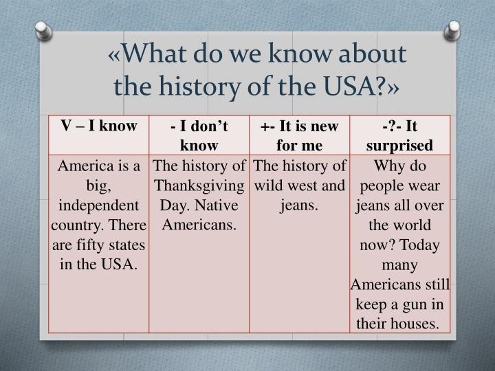 «What do we know about the history of the USA?»