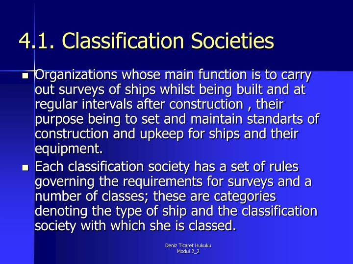 4.1. Classification Societies