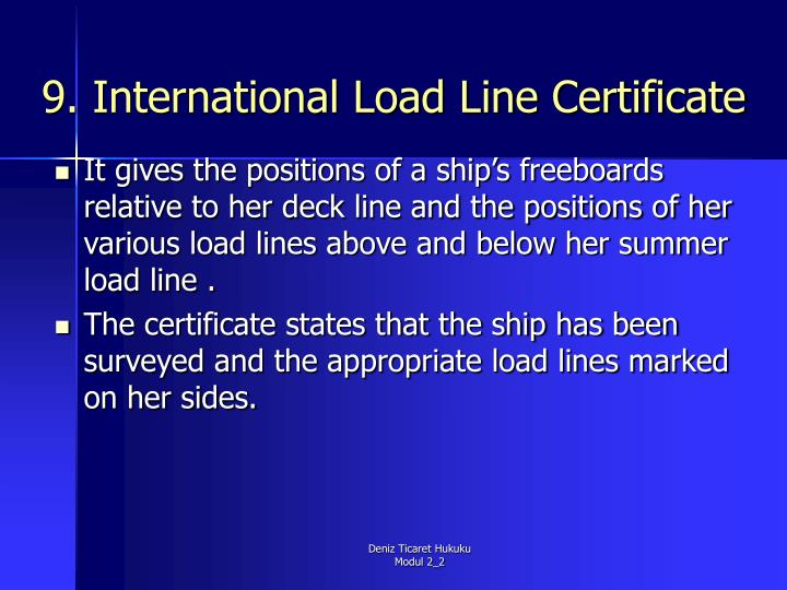9. International Load Line Certificate